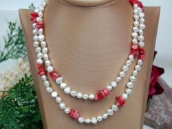 Pearl Necklace,7-8mm Pearl Beads With Coral Beads