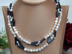 Pearl Necklace,7-8mm Pearl, With Agate Beads