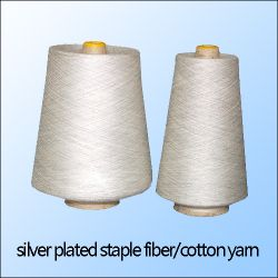 Silver Plated Fiber Blend With Cotton Yarn,silver