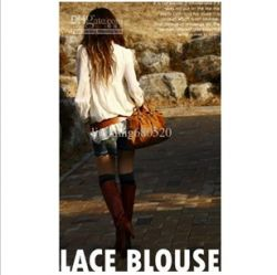 Section 2-604 Solid Fashion Lace Shirt