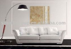 Leather Sofa In Living Room With White Color