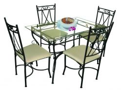 Tempered Glass Dining Table And Chair Set