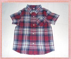 Short Sleeve Toddler Boys Grid Shirts