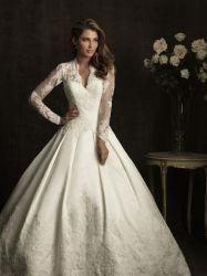 Elegant Simple Beaded White Lace Wedding Dress