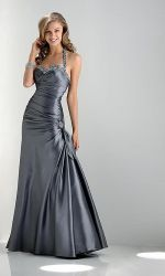 Silver Gray Floor Length Taffeta Prom Dresses