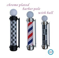 Chromed Plated Barber Pole With Ball 337