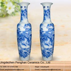 China Blue And White Ceramic Large Floor Vase