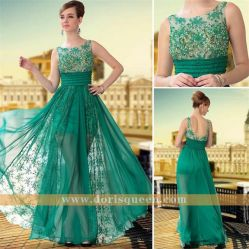 Transparent Embroidery Tulle Green Formal Dresses